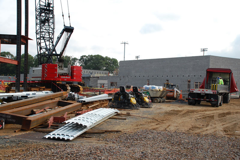 A look at the new gym building from Dinwiddie Street